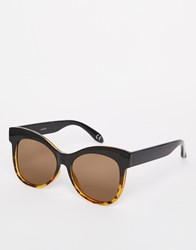 Asos Retro Cat Eye Sunglasses With Flat Lens Brown