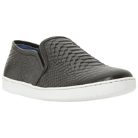 Dune Tomkins Snake Print Leather Trainers Black