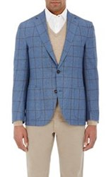 Luciano Barbera Windowpane Checked Two Button Sportcoat Blue