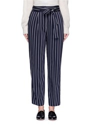 Trademark Tie Waist Stripe Wool Blend Pants Blue