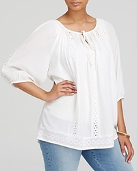 Karen Kane Plus Cotton Eyelet Trim Peasant Blouse