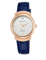 Anne Klein Rose Goldtone Stainless Steel Leather Strap Analog Watch Navy Blue