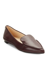 Karl Lagerfeld Destine Calf Hair Accented Leather Loafers Burgundy