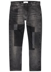 Facetasm Grey Patchwork Print Skinny Jeans Black