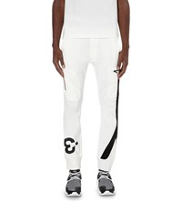 Y 3 Logo Printed Jogging Bottoms Core White