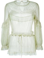 Givenchy Embroidered Ruffled Blouse Green