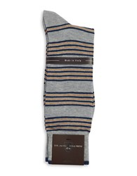 Black Brown Striped Cotton Blend Socks Grey