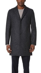 Harris Wharf London Boxy 3 Button Tartan Tweed Coat Blue Grey