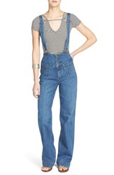 Women's Free People 'Penrose' Flare Overalls Brightest Blue