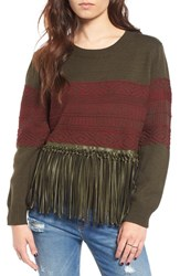 Moon River Women's Faux Leather Fringe Knit Sweater