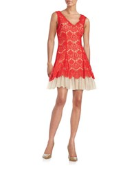 Betsy And Adam Lace Fit Flare Dress Red Nude