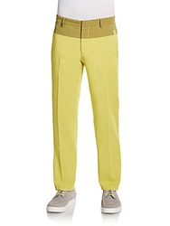 Versace Cotton Blend Two Tone Pants Yellow