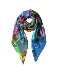 Christian Lacroix Flower Zone Print Silk Square Scarf Black