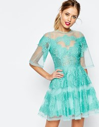 Asos Salon Lace Panelled Organza Mini Dress Mint Green