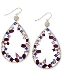 Sis By Simone I Smith Blue Purple And White Crystal Teardrop Earrings In Platinum Over Sterling Silver