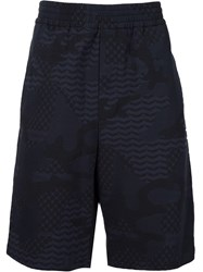 Neil Barrett Patterned Camouflage Shorts Blue