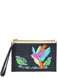 Serpui Marie Macaw Embroidered Straw Pouch Black