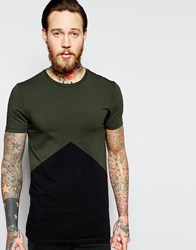 Asos Longline Muscle T Shirt With Triangle Panel Armygreenblack