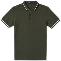 Fred Perry Slim Fit Twin Tipped Polo Green