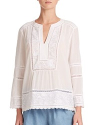 Rebecca Taylor Oahu Embroidered Cotton Peasant Blouse Chalk