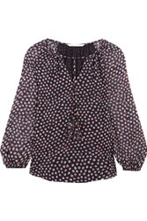 Diane Von Furstenberg Saylor Printed Silk Georgette Blouse Midnight Blue