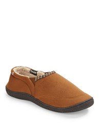 Isotoner Sherpa Lined Moccasin Slippers Cognac