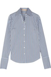 Michael Kors Collection Checked Cotton Blend Poplin Shirt Blue