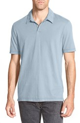 Men's James Perse Trim Fit Sueded Jersey Polo Bluestone
