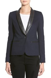James Jeans Faux Leather Lapel Ponte Blazer Blue Black Ponte