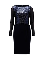 Gina Bacconi Jersey Dress With Sequin Bodice Navy