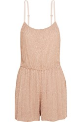 Alice Olivia Mika Folly Embellished Silk Georgette Playsuit Blush