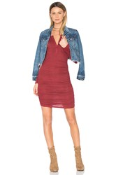 Lanston Ruched Henley Dress Red