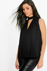 Boohoo Cut Out Pleat Front Woven Swing Top Black