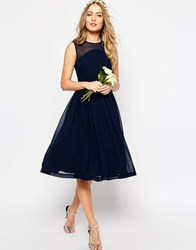 Asos Wedding Midi Dress With Rouche Panel Detail Navy