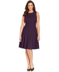 Calvin Klein Plus Size Pleated A Line Dress Currant