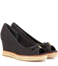 Tory Burch Jackie 85 Peep Toe Wedge Sandals Black