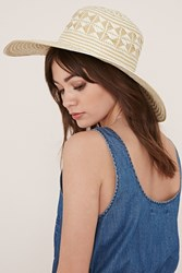 Forever 21 Two Tone Floppy Straw Hat Natural Cream