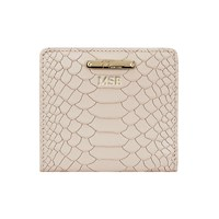 Graphic Image Mini Folding Wallet In Embossed Python Leather Bone Personalized