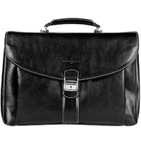 Robe Di Firenze Black Front Pocket Leather Briefcase