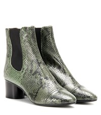 Isabel Marant Danae Printed Leather Ankle Boots Green