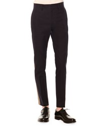 Valentino Side Stripe Slim Fit Trousers Navy Army