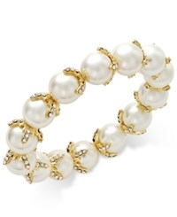 Charter Club Gold Tone Pave Imitation Pearl Stretch Bracelet Only At Macy's