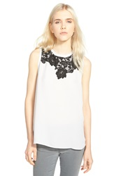 Chelsea 28 Lace Trim Sleeveless Top Grey Micro