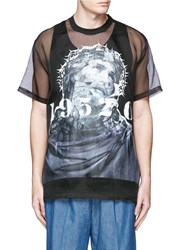 Givenchy '19250' Jesus Print Silk Organza Top Black
