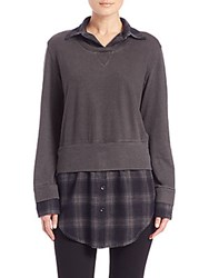 Monrow Layered Plaid Sweatshirt Charcoal