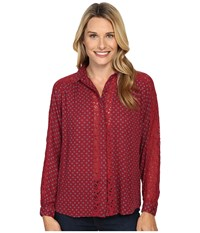 Kut From The Kloth Natalie Brick Women's Long Sleeve Button Up Red