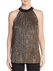 Saks Fifth Avenue Black Metallic Pleated Halter Top Silver Gold