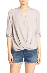 Lush Women's Twist Front Woven Shirt Sphinx