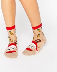 Asos Christmas Sheer Reindeer On Toe Socks Red