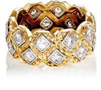 Mahnaz Collection Vintage Women's White Diamond Embellished Band Gold